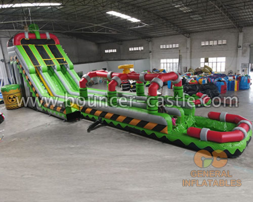 GWS-335 Inflatable Toxic nuclear dual water slide n slip with pool