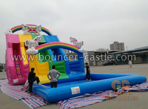 GWS-81 Unicorn water slide with pool