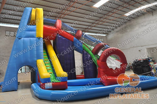 Twister water slide with pools