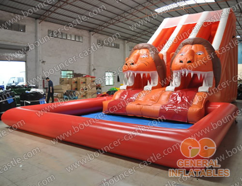 Lion water slide with sealed pool