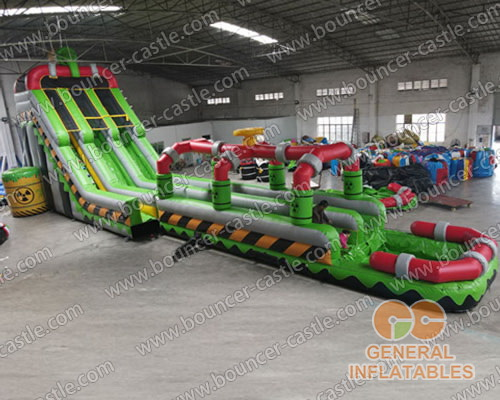 Inflatable Toxic nuclear dual water slide n slip with pool