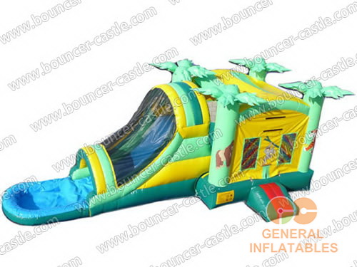 Tropical Area Inflatable Slide Combo